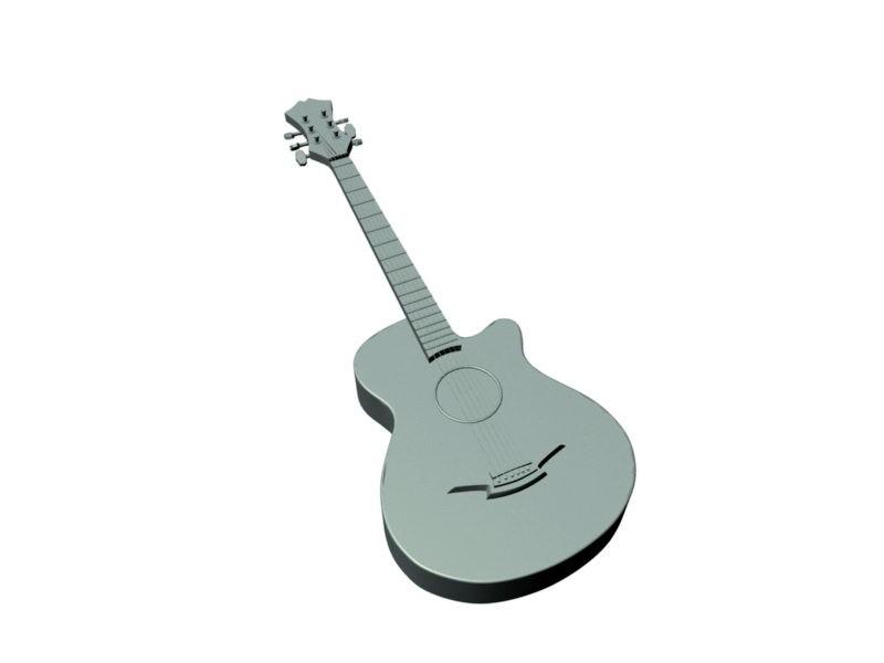 Classic Guitar 3d rendering