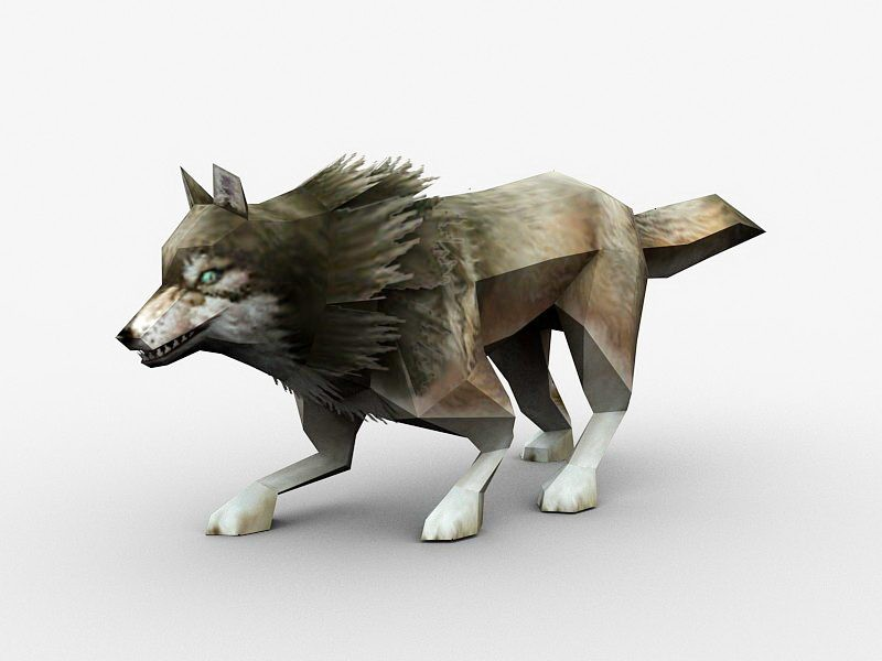 Low Poly Gray Wolf 3d rendering