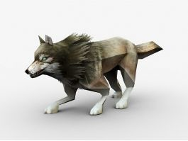Low Poly Gray Wolf 3d preview