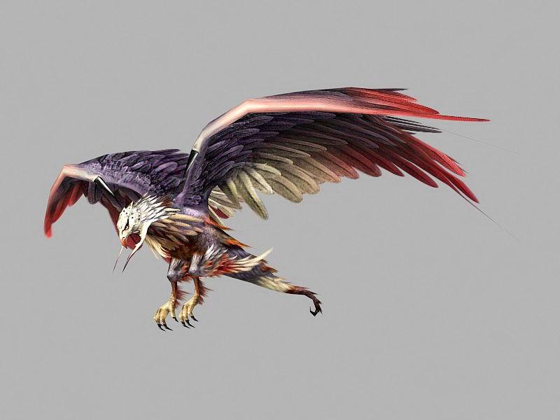 Anime Eagle 3d rendering