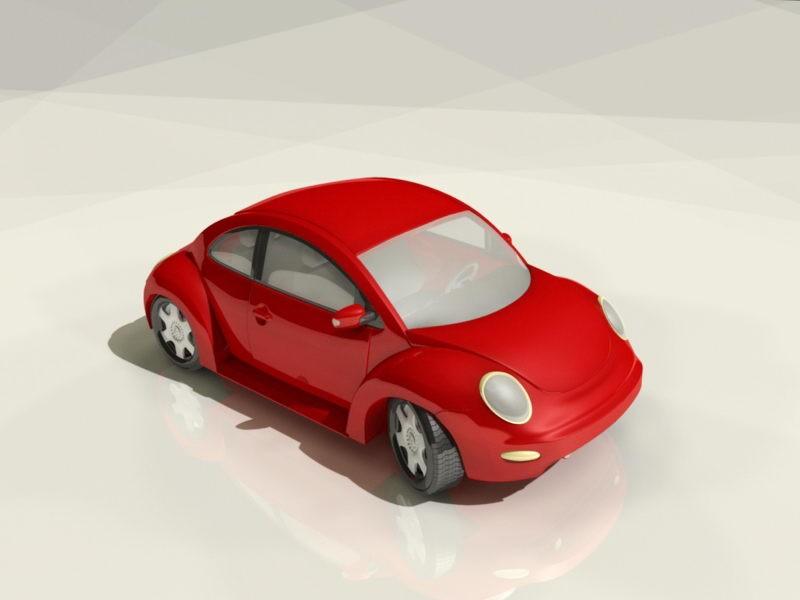 Red VW Beetle 3d rendering
