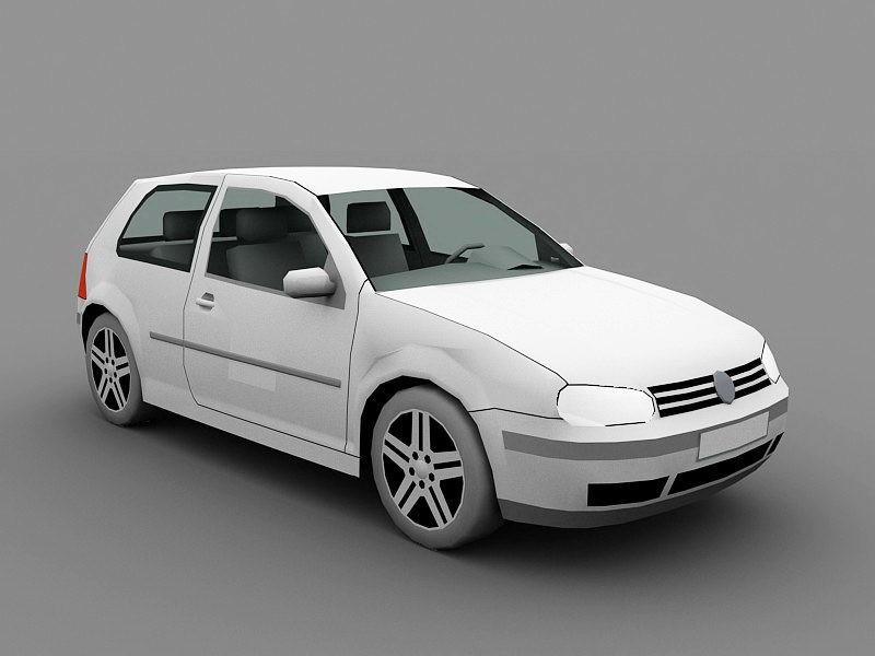 Volkswagen Golf Hatchback 3d rendering