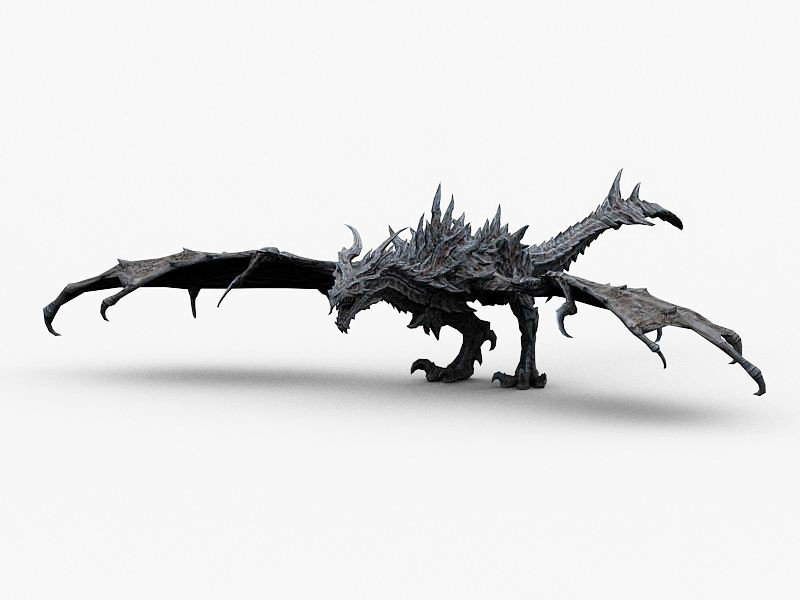 Silver Dragon 3d rendering