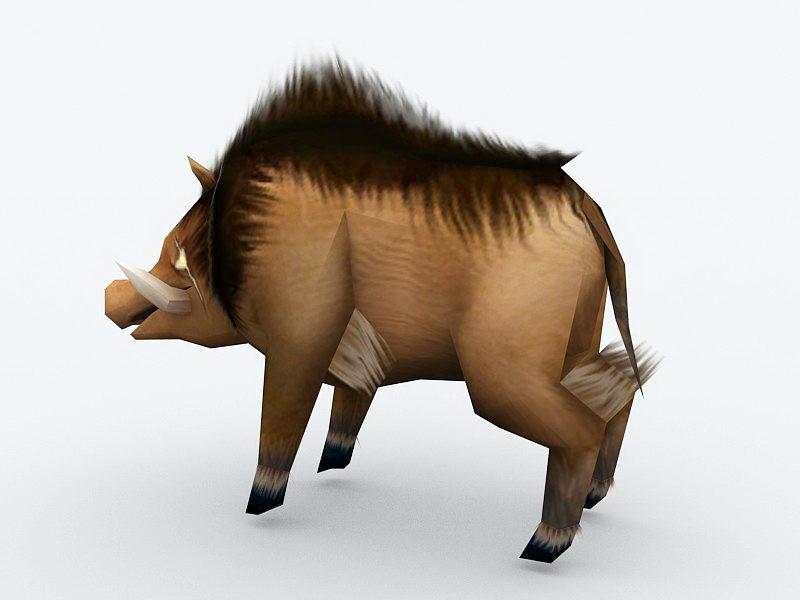 Anime Wild Pig 3d rendering