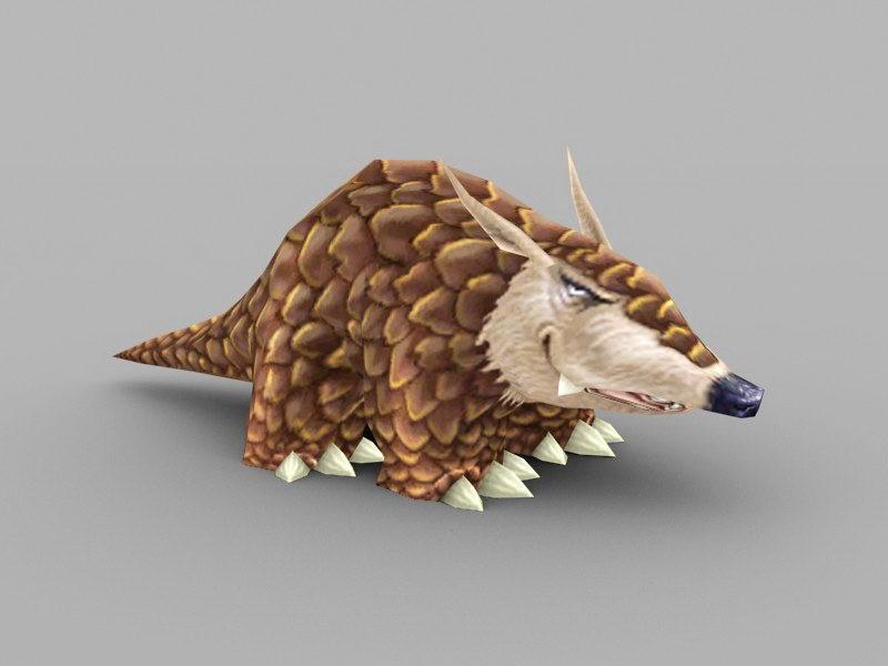 Cute Pangolin Animal 3d rendering