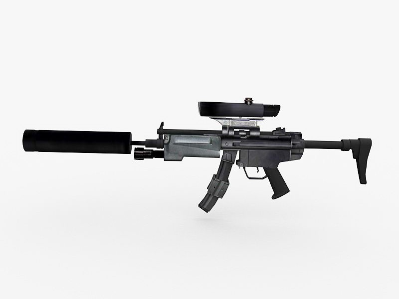 MP5 with Silencer 3d rendering