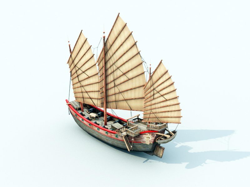 Ancient Chinese Merchant Ship 3d rendering