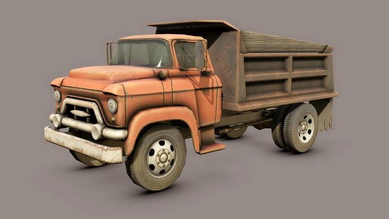 Old Dump Truck 3d rendering