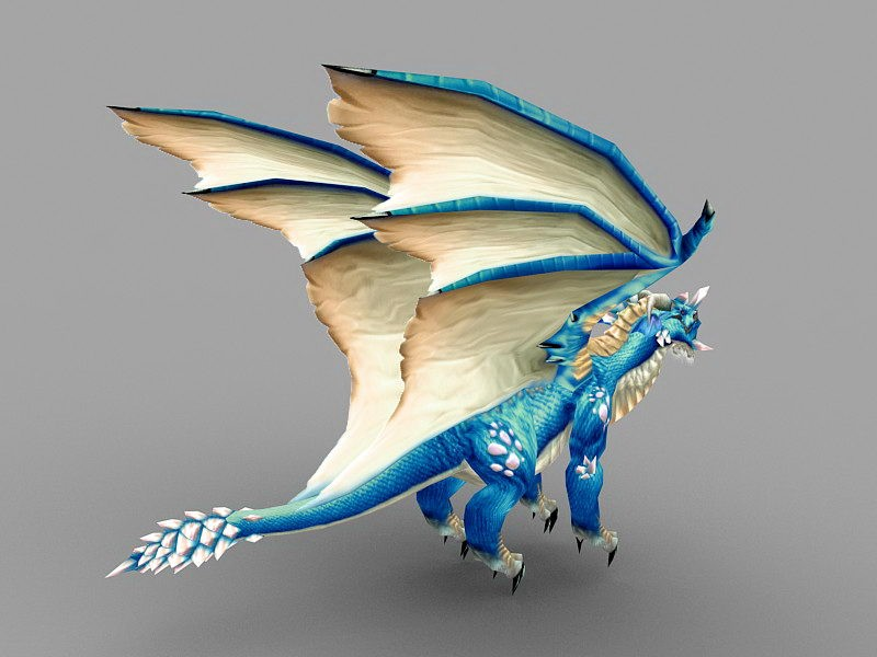 Cool Blue Dragon 3d rendering