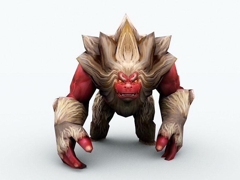 Giant Ape Monster 3d rendering