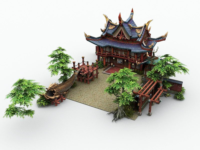 Temple of the City God 3d rendering