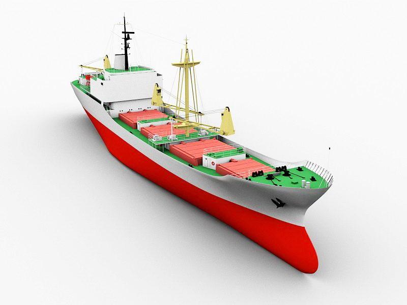 Modern Cargo Ship 3d rendering