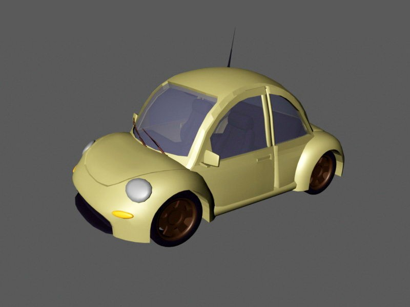 Volkswagen Beetle Cartoon Car 3d rendering