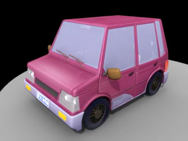 Dark Red Cartoon Car 3d rendering
