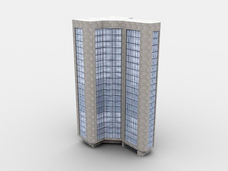 Triangle Office Building 3d rendering