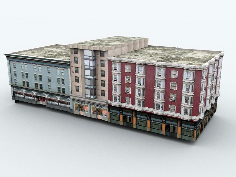 Old Apartment Buildings 3d rendering