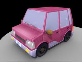 Dark Red Cartoon Car 3d preview