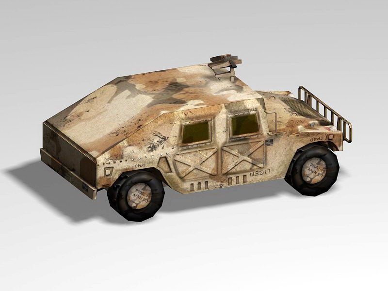 Old Military Hummer 3d rendering