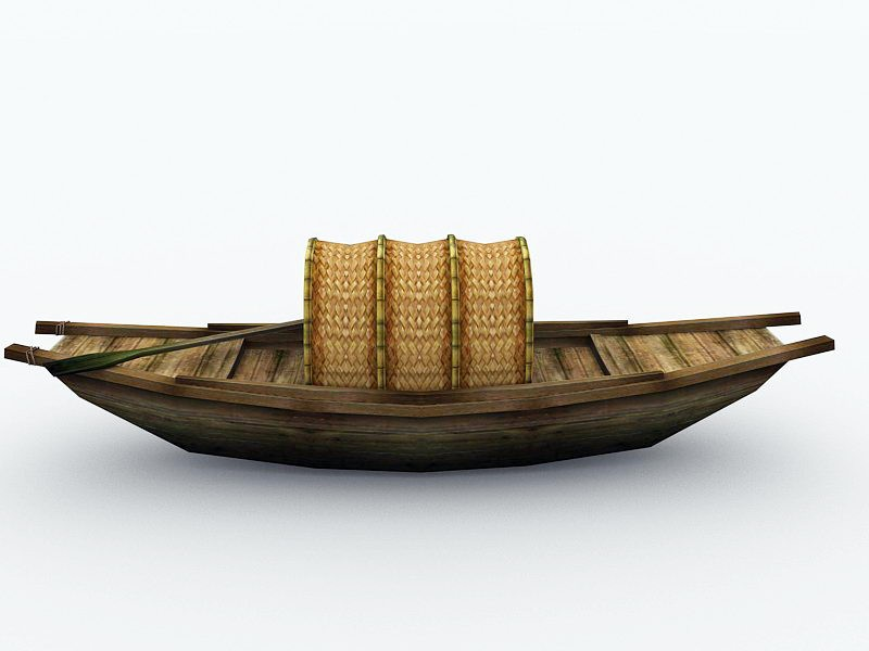 Traditional Chinese Fishing Boat 3d rendering