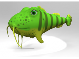 Green Catfish Cartoon 3d preview