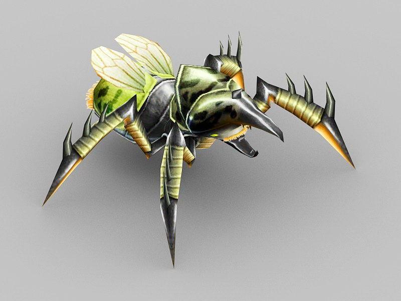 Anime Green Beetle 3d rendering