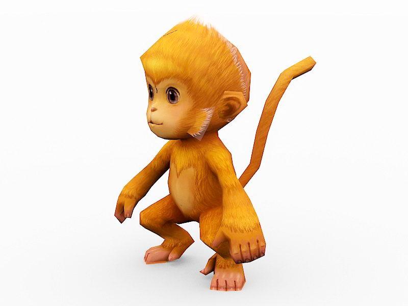 Orange Monkey Cartoon 3d rendering