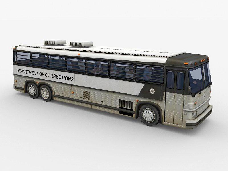 Old Prison Bus 3d rendering
