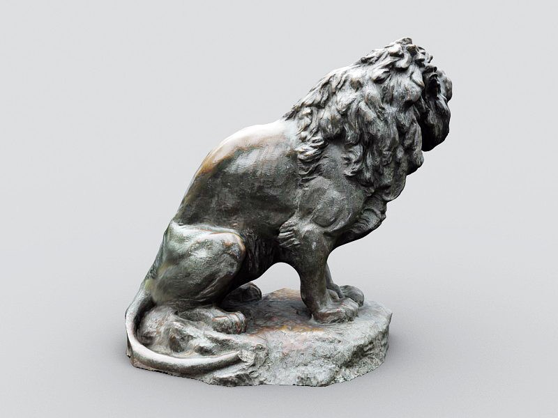 Vintage Lion Sculpture 3d rendering