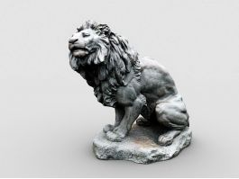 Vintage Lion Sculpture 3d preview