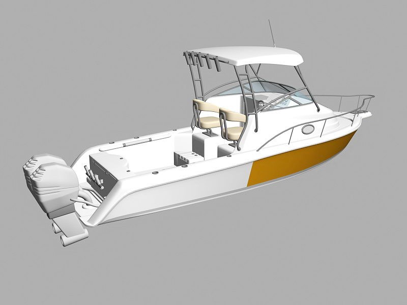 Small Luxury Yacht 3d rendering