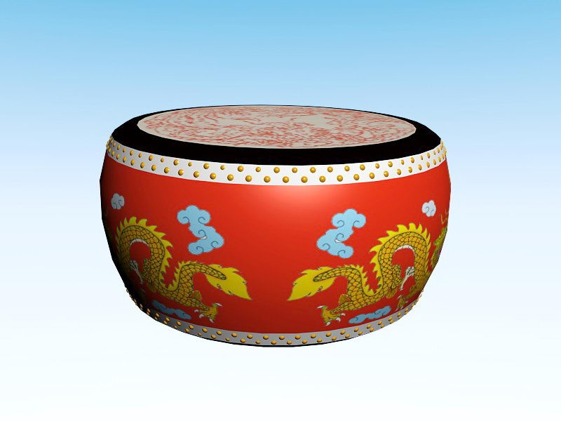 Chinese Drum 3d rendering