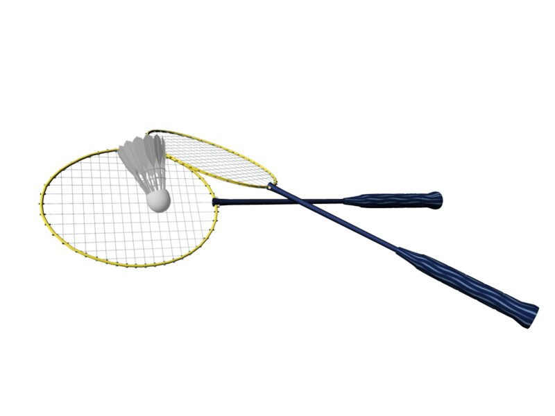 Badminton Racket and Shuttlecock 3d rendering