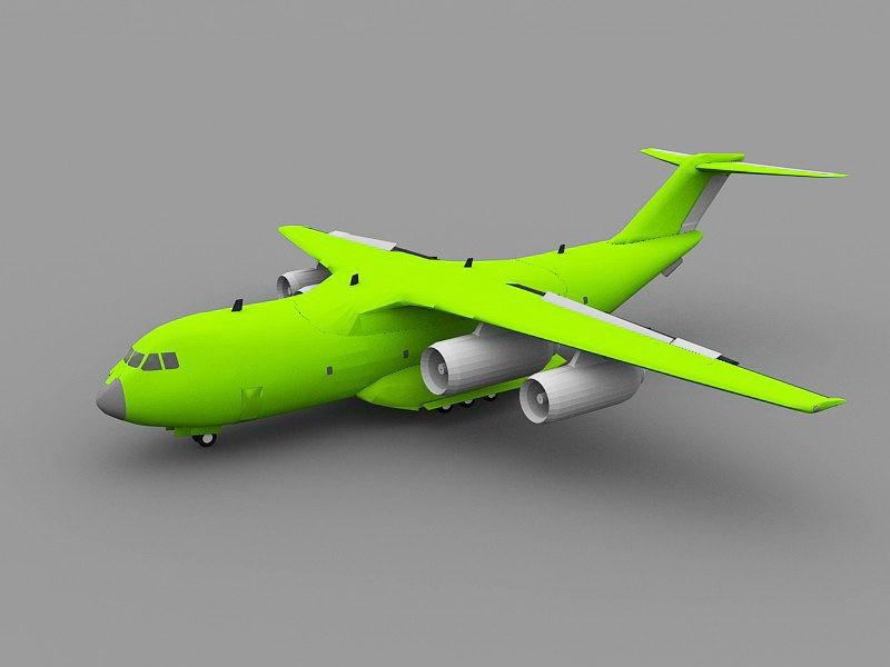 Green Transport Plane 3d rendering