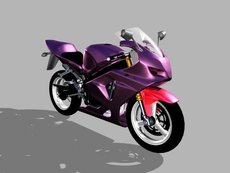 Purple Motorcycle 3d rendering