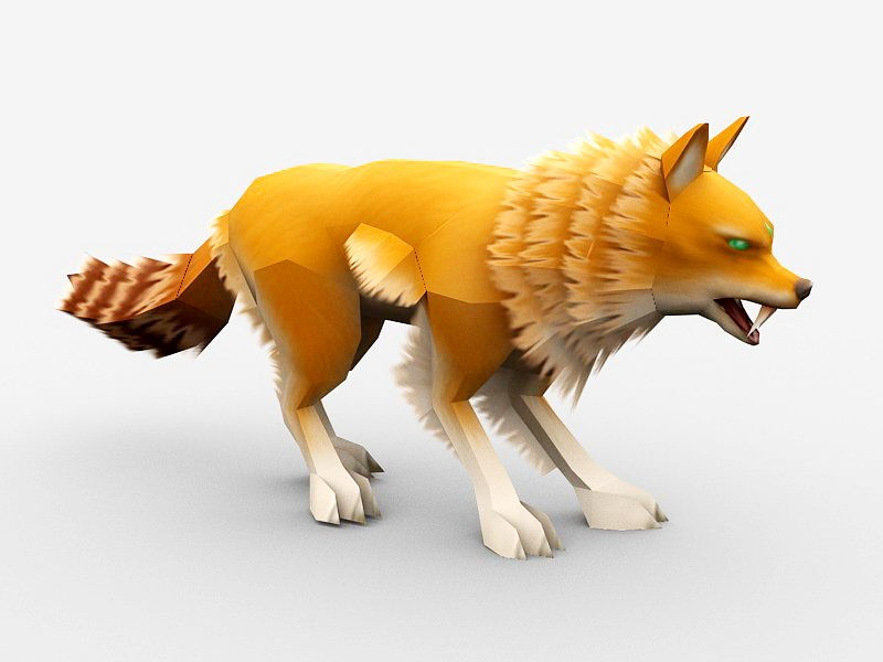 Anime Red Fox 3d rendering