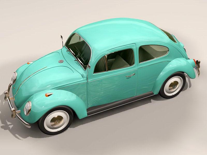 Vintage VW Beetle 3d rendering