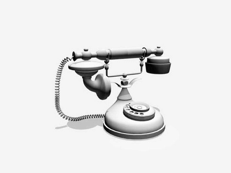 Old Telephone 3d rendering