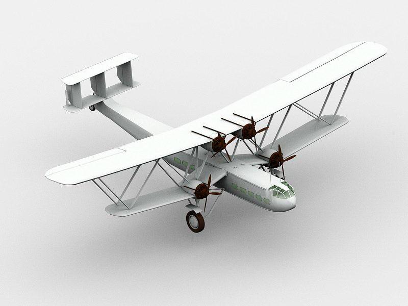 Biplane Airplane 3d rendering