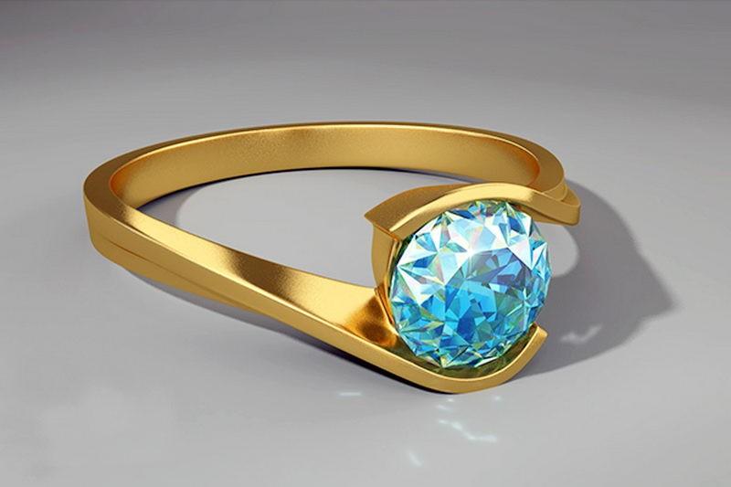 Blue Topaz Gold Ring 3d rendering