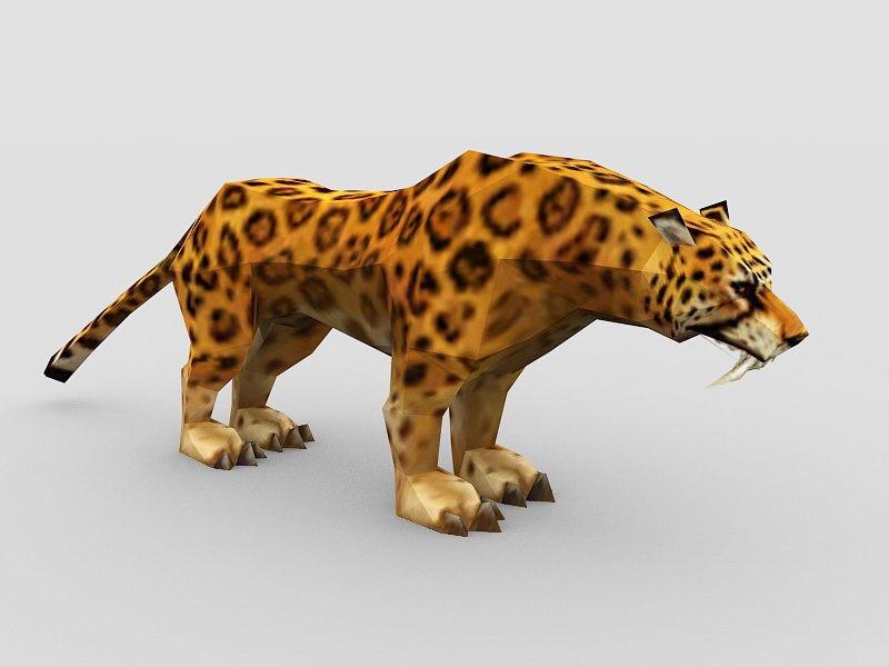 Indian Leopard 3d rendering
