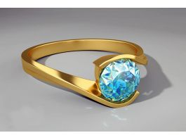Blue Topaz Gold Ring 3d preview
