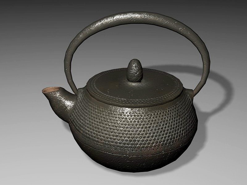Old Cast Iron Teapot 3d rendering