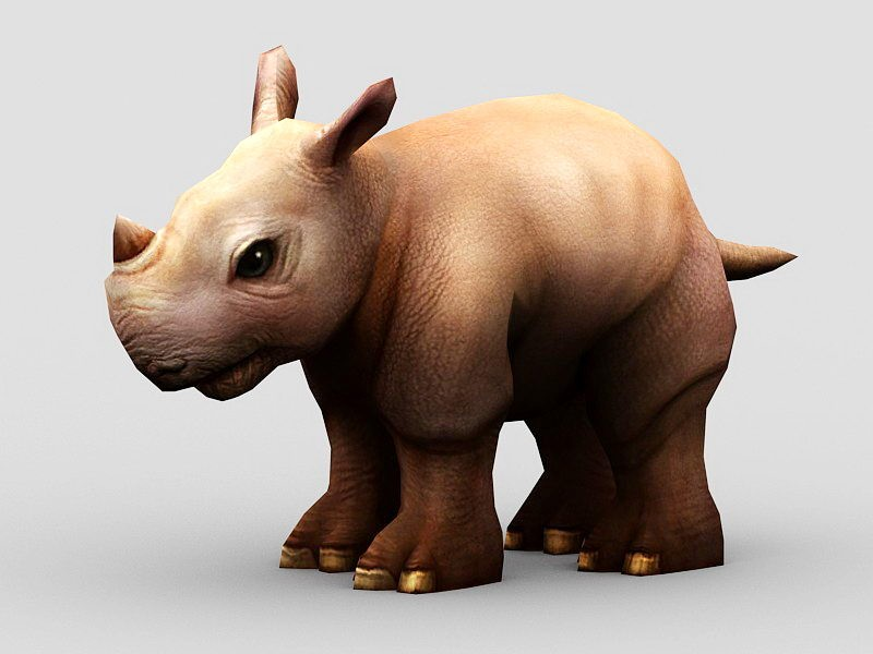 Cute Cartoon Rhino 3d rendering