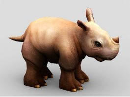 Cute Cartoon Rhino 3d preview