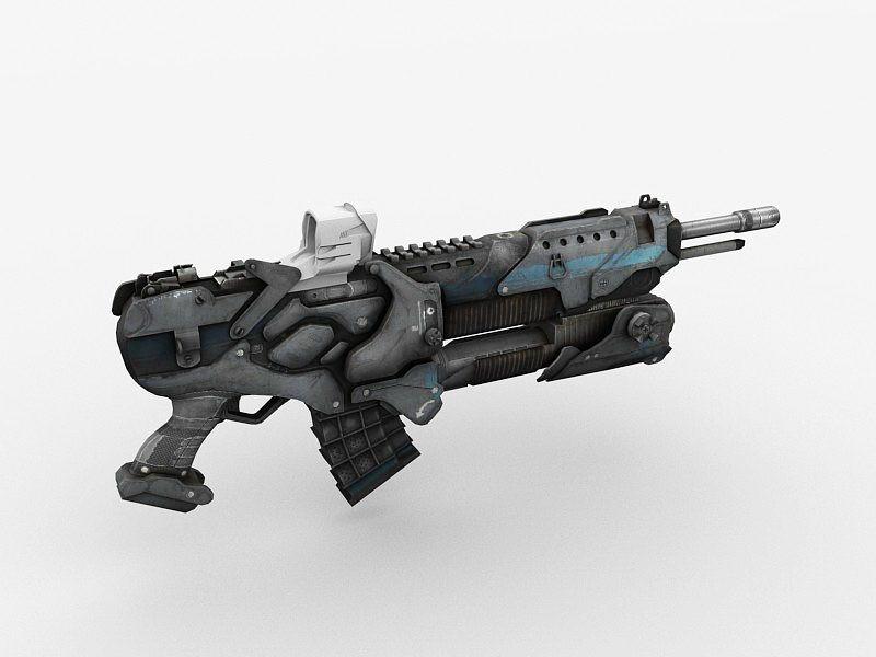 Futuristic Assault Rifle 3d rendering