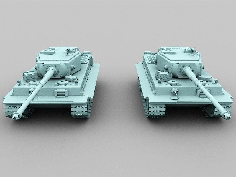 German Tiger Tank 3d rendering