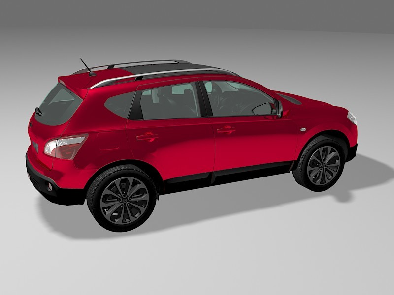 Red Nissan SUV 3d rendering