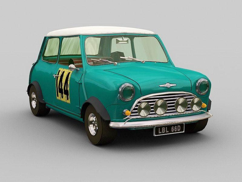Vintage Mini Cooper 3d rendering