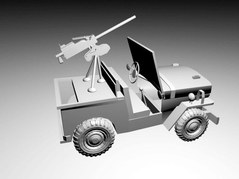 Willys Old Fighting Jeep Mounted Machine Gun 3d rendering