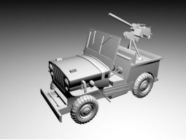 Willys Old Fighting Jeep Mounted Machine Gun 3d preview